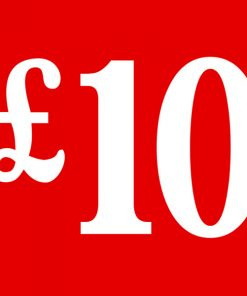 PS7 Red – £10 Cardboard Shop Sign