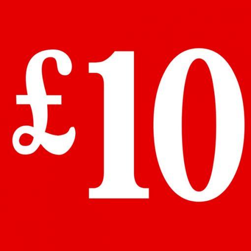 PS7 Red – £10 Cardboard Shop Sign