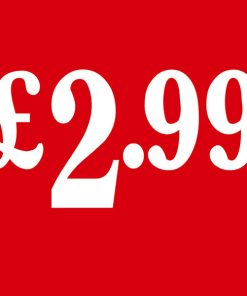 PS2 Red – £2.99 Cardboard Shop Sign