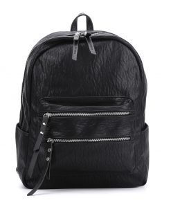 Black Solid Color Backpack With Studs Design