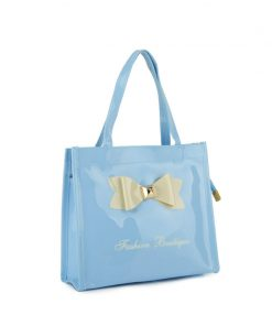 QQ2021-2 Light blue – Contrast Color Design Bowknot Decoration Patent Women Handbag
