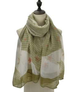 SF1091 Green – Girls Polka Dot Stripe Stars Pattern Scarf
