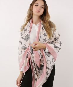 SF1115 White – Special Contrasting Colors illustration Scarf And Shawl For Women