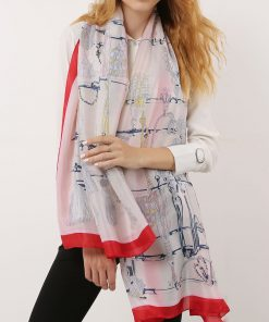 SF1119 White – Contrasting Colors Scarf And Shawl With Art Illustrations