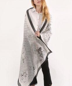 SF1120 White – Floral Pattern Scarf And Shawl With Cross Lines