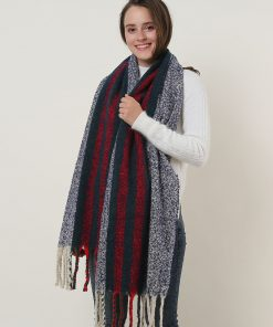 SF1127 Navy – Variegated Color Stripe Scarf For Women