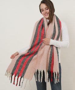 SF1127 Pink – Variegated Color Stripe Scarf For Women