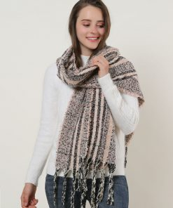 SF1130 Pink – Variegated Color Lattice Pattern Scarf With Tassels