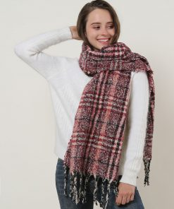 SF1130 Red – Variegated Color Lattice Pattern Scarf With Tassels