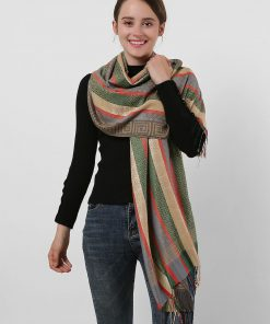 SF1132 Camel – Various Pattern Scarf With Colorful Tassels