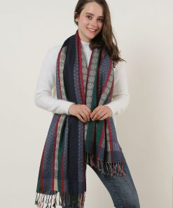 SF1132 Navy – Various Pattern Scarf With Colorful Tassels