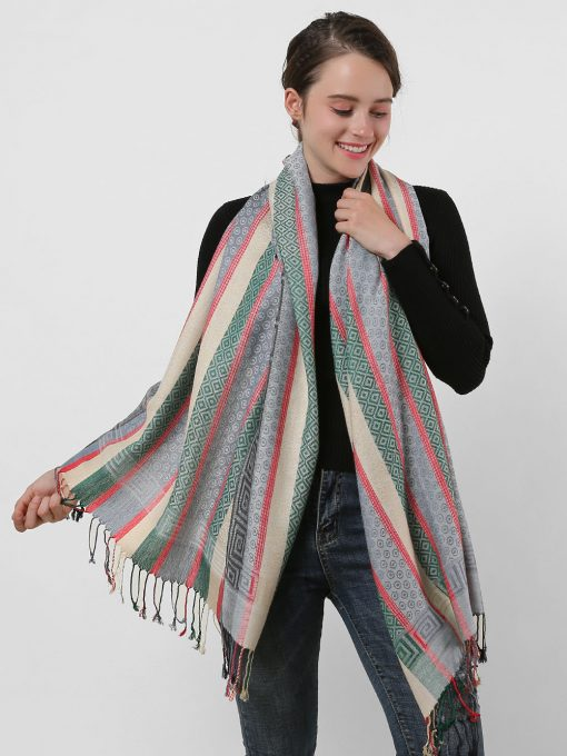SF1132 White – Various Pattern Scarf With Colorful Tassels