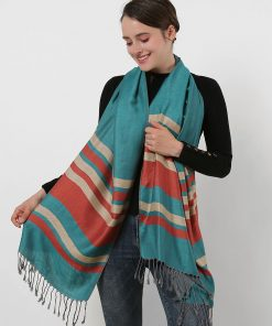 SF1133 Green – Textured Patchwork Stripe Scarf With Tassels