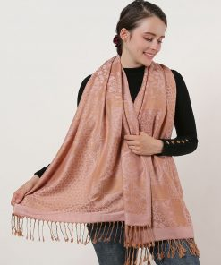 SF1135 Pink – Retro Pattern Scarf With Tassels