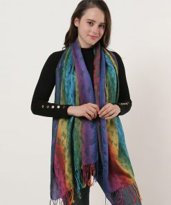 SF1136-2 – Rainbow Color Butterfly Scarf With Tassels