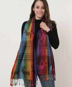 SF1137-3 – Rainbow Color Elk Pattern Scarf With Tassels