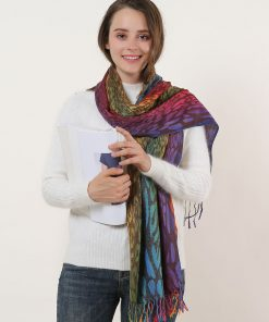 SF1139-3 – Rainbow Color Leopard Print Scarf With Tassels