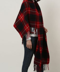 SF1152 Red -Lattice Pattern Scarf With Tassels