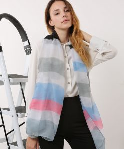 SF1177 Grey – Colorful Stripe Pattern Scarf For Women