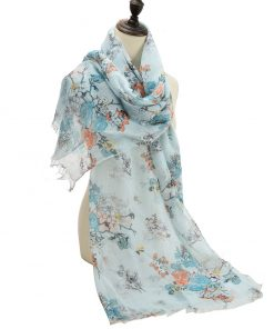 SF1189 GREEN – Simple Floral Pattern Scarf For Women