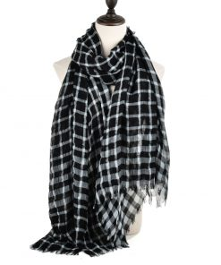 SF942 Black – Classic Plaid Pattern Women Tassel Scarf