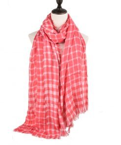 SF942 Fushia – Classic Plaid Pattern Women Tassel Scarf