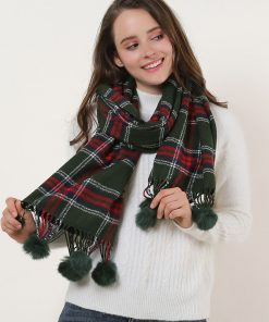 SF957-1 Green – Plaid Soft Long Scarf With Pom Pom Detail