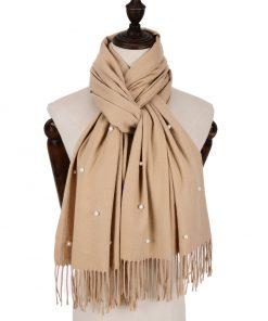 SF960-1 BEIGE – Fashion Warm Plain Pearl Tassels Scarf