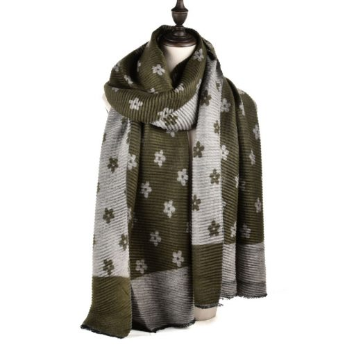 SF966 Green – Oversized Women Floral Scarf