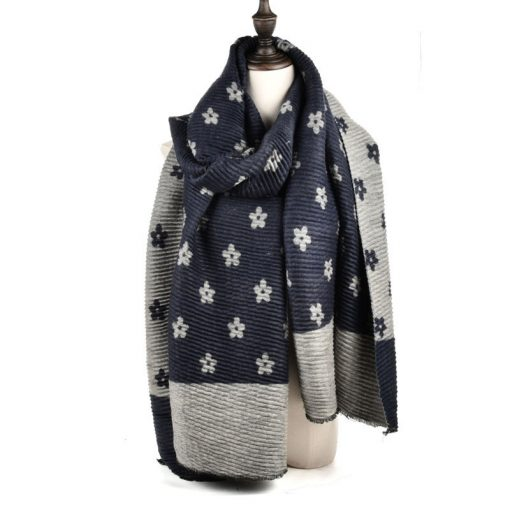 SF966 Navy – Oversized Women Floral Scarf