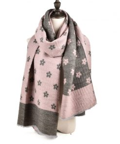 SF966 Pink – Oversized Women Floral Scarf