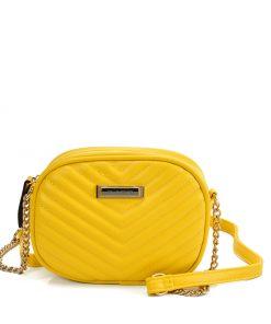 SY2172 YELLOW – Chain Handbag With V-shaped Line Design