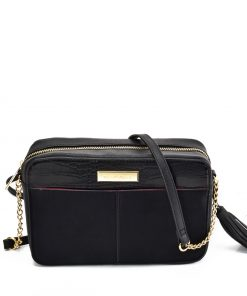SY2177 BLACK – Simple Chain Bag With Tassels Decoration