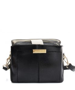 SY2179 BLACK – Simple Solid Color Flash Leather Bag