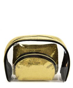 SY2184 GOLD – Transparent Saddle Shaped Set Bags