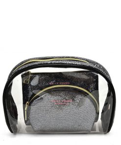 SY2184 BLACK&SILVER – Transparent Saddle Shaped Set Bags