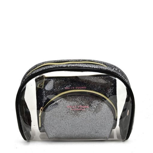 SY2184 BLACK&SILVER – Transparent Saddle Shaped Set Bags