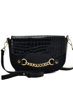 Black Leather Saddle Handbag