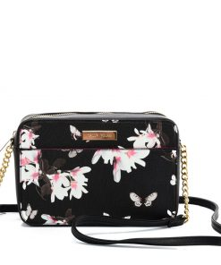 SY2210 BLACK&WHITE – Chain Bag With Retro Flower Pattern