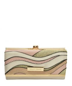Beige Luxury Wallet With Colour Collision Splicing Design