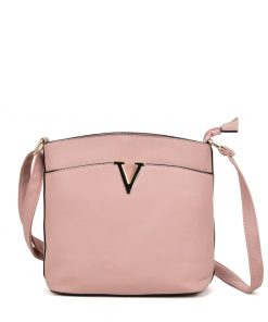 VK2042-1 Pink – Cross Body Bag With Metal Bar Detail