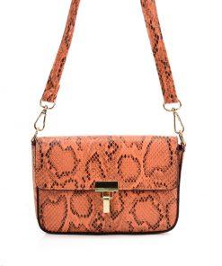 VK2116 ORANGE – Snakeskin Handbag For Women