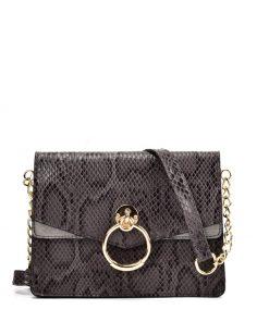 VK2117 GREY – Snakeskin Bag With Hardware Ring Decoration