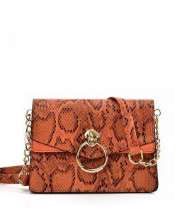 VK2117 ORANGE – Snakeskin Bag With Hardware Ring Decoration