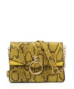 VK2117 YELLOW – Snakeskin Bag With Hardware Ring Decoration