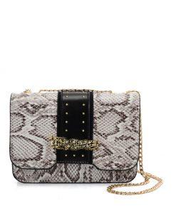 VK2118 BEIGE – Snakeskin Chain Bag For Women