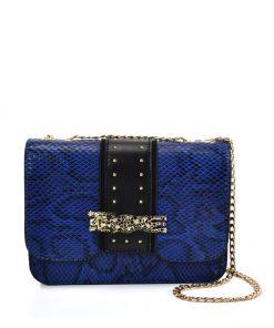 Blue Snakeskin Chain Bag For Women