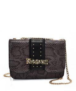 VK2118 GREY – Snakeskin Chain Bag For Women