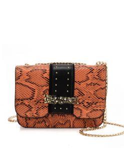 VK2118 ORANGE – Snakeskin Chain Bag For Women
