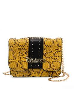 VK2118 YELLOW – Snakeskin Chain Bag For Women